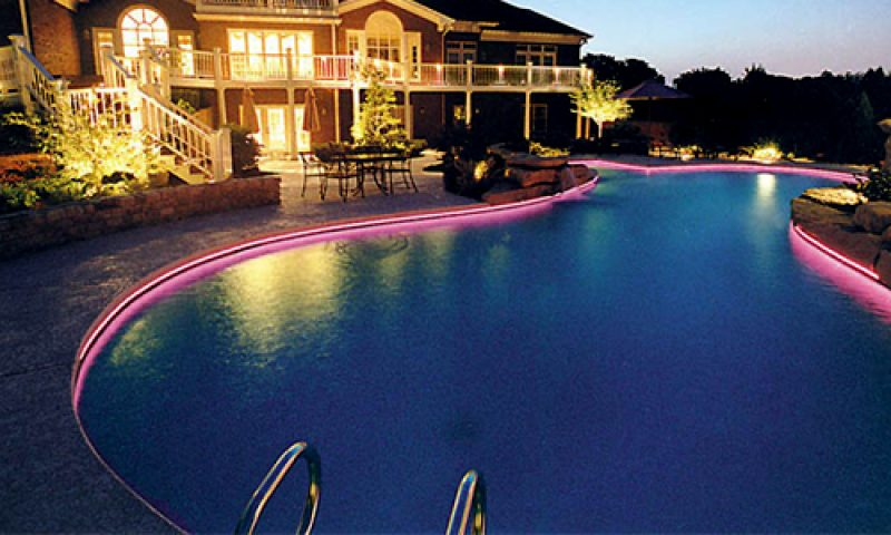 LED strip around a pool